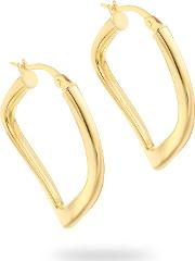 9ct Yellow Gold Thin Square Wavy Creole Earrings