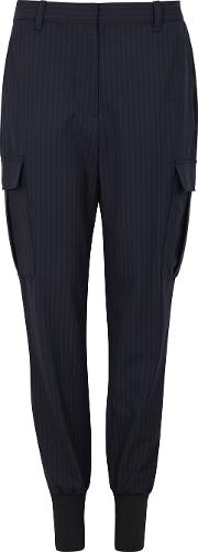 Navy Pinstriped Tapered Trousers
