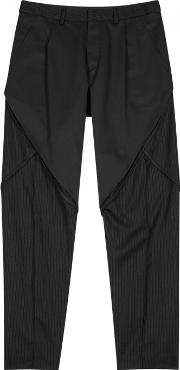 Charcoal Panelled Wool Trousers Size M