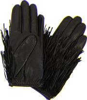 Fringed Leather And Suede Gloves