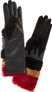 Sylvia Leather And Rabbit Fur Gloves