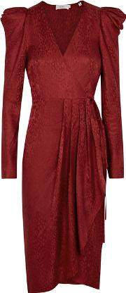 Carolina Crimson Silk Jacquard Wrap Dress