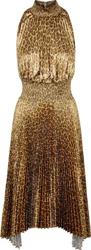 Metallic Leopard Print Satin Dress
