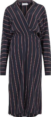 Nico Navy Striped Silk Dress