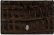 Crocodile Effect Leather Card Holder