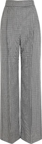 Houndstooth Wide Leg Wool Trousers