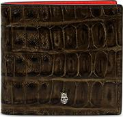 Olive Crocodile Effect Leather Wallet