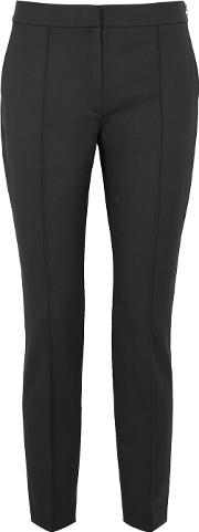 Black Cropped Tapered Trousers