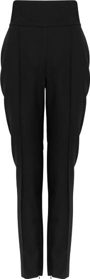 Black Tapered Wool Trousers