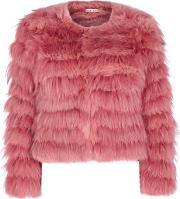Alice Olivia Fawn Pink Cropped Fur Jacket