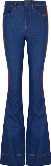 Alice Olivia Kayleigh Striped Flared Jeans