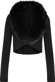 Alice Olivia Lily Fur Trimmed Cropped Cardigan