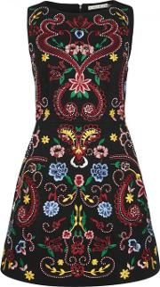 Alice Olivia Lindsey Embroidered Mini Dress Size 8