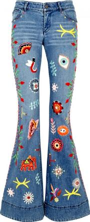 Alice Olivia New Ryley Embroidered Flared Jeans Size W26
