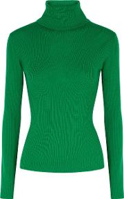 Alice Olivia Roberta Green Roll Neck Wool Jumper