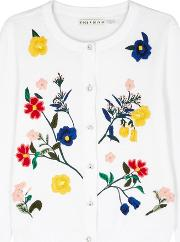 Alice Olivia Ruthy Embroidered Cotton Blend Cardigan