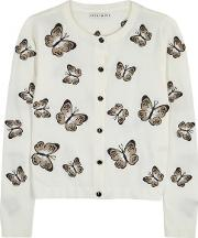 Alice Olivia Ruthy Embroidered Cropped Cardigan Size Xs