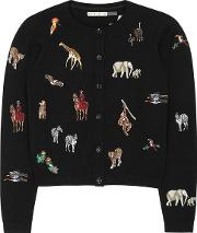 Alice Olivia Ruthy Embroidered Stretch Cotton Cardigan