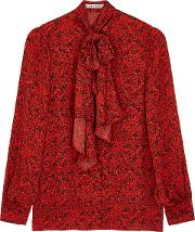 Alice Olivia Tammy Red Printed Blouse