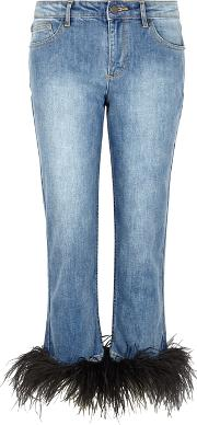 Alice Olivia Tasha Feather Trimmed Cropped Jeans