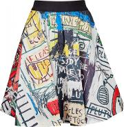 Alice Olivia X Basquiat Earla Printed Stretch Cotton Skirt Size 8