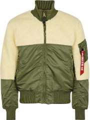 Teddy Faux Shearling Shell Bomber Jacket