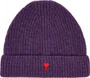 Purple Ribbed Wool Beanie