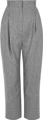 Grey High Waisted Wool Trousers Size L