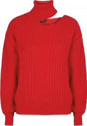 Red Cut Out Merino Wool Jumper Size S