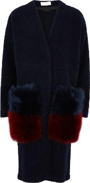 Navy Fur Trimmed Boucle Cardigan
