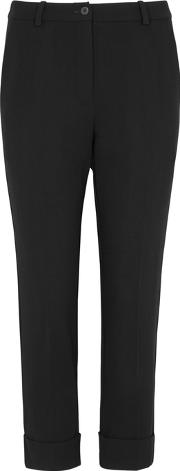 Black Cropped Stretch Jersey Trousers