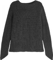 Charcoal Ribbed Merino Wool Jumper Size S