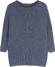 Mac Blue Ribbed Cotton Blend Jumper Size M