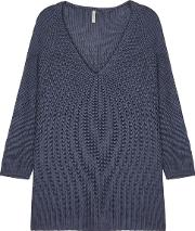 Sinda Blue Ribbed Knit Jumper