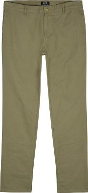 A.p.c. Low Standard Olive Cotton Chinos Size W30