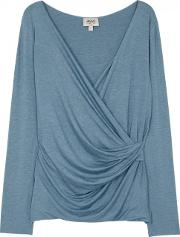 Blue Wrap Front Jersey Top