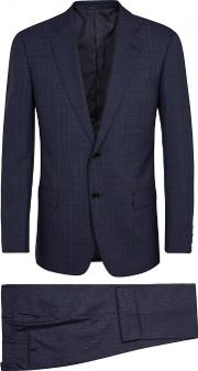 G Line Navy Checked Wool Suit Size 38