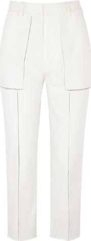 Ecru Cropped Panelled Jeans