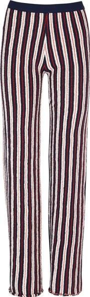 Textured Striped Cotton Blend Trousers