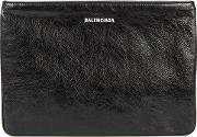Black Logo Embossed Leather Pouch