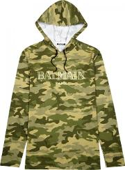 Camouflage Print Hooded Cotton Top Size S