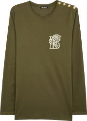 Olive Embroidered Cotton Top Size L