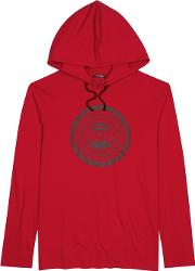 Red Logo Print Hooded Cotton Top