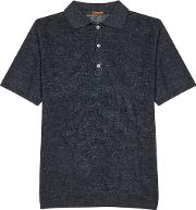 Anthracite Knitted Linen Polo Shirt