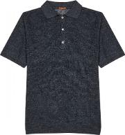Anthracite Knitted Linen Polo Shirt Size M