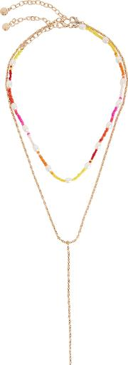 Dina Beaded And Gold Plated Necklaces