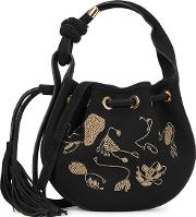 Ina Black Embroidered Cross Body Bag