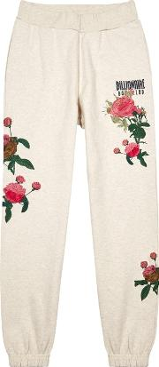 Floral Embroidered Cotton Jogging Trousers
