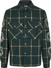Green Checked Wool Blend Jacket