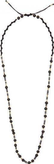 Black Agate Gold Plated Beaded Necklace